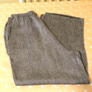 FLAX Grey Fleck Crop Linen Pants